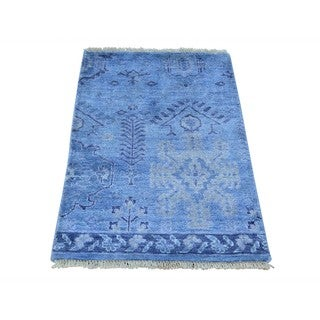 Hand-knotted Wool and Rayon from Bamboo Silk Oushak Oriental Rug (2' x 3')