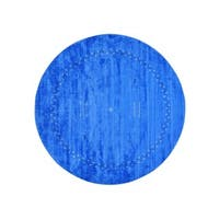 Round Loomed Gabbeh Modern Wool and Rayon from Bamboo Silk Rug - 8'2 x 8'2