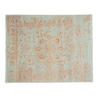 Wool and Rayon from Bamboo Silk Handmade Broken Design Heriz Rug (7'10 x 10')