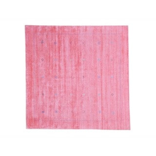 Wool and Rayon from Bamboo Silk Pink Loomed Gabbeh Square Oriental Rug (7' x 7')