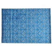 Tone On Tone Damask Design Wool and Silk Handmade Rug (10' x 14'2)