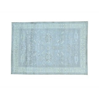 Washed Out Grey Handmade Rayon from Bamboo Silk Oushak Oriental Rug (5'6 x 7'10)