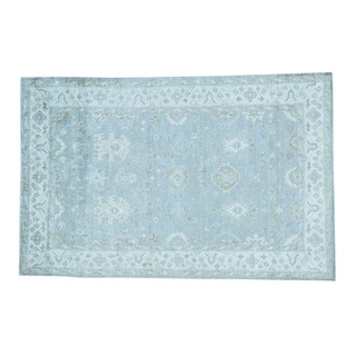 Sky Blue Silver Wash Rayon from Bamboo Silk Handmade Oushak Rug (6' x 9')