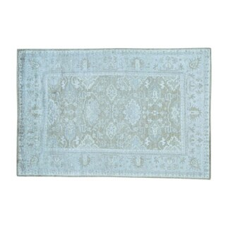 Washed Out Rayon from Bamboo Silk Hand-knotted Oushak Oriental Rug (5'10 x 8'9)