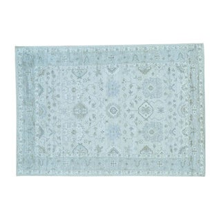 Handmade Silver Wash Rayon from Bamboo Silk Ivory Oushak Oriental Rug (6'1 x 8'9)