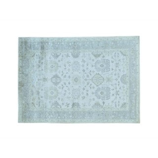 Silver Wash Rayon from Bamboo Silk Oushak Hand-knotted Oriental Rug (5'7 x 7'10)