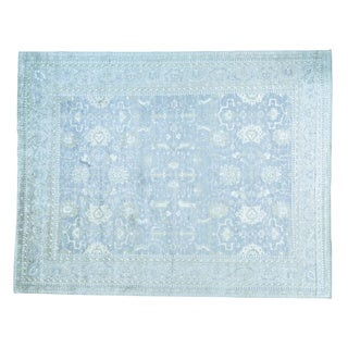 Oversize Handmade Rayon from Bamboo Silk Oushak Oriental Rug (11'10 x 15'3)