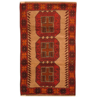 Herat Oriental Afghan Hand-knotted Tribal Balouchi Wool Rugs (2'9 x 4'7)