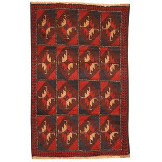 Herat Oriental Afghan Hand-knotted Tribal Balouchi Wool Rugs (3' x 4'7)