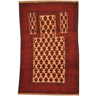 Herat Oriental Afghan Hand-knotted Tribal Balouchi Ivory/ Red Wool Rugs (2'10 x 4'5)