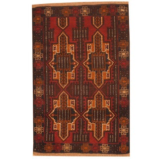 Herat Oriental Afghan Hand-knotted Tribal Balouchi Brown/ Navy Wool Rugs (3' x 4'5)