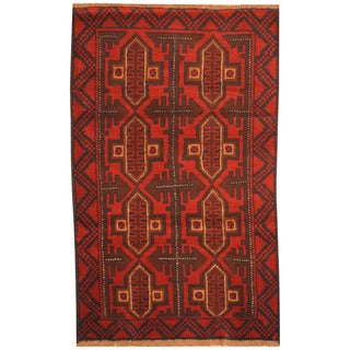 Herat Oriental Afghan Hand-knotted Tribal Balouchi Wool Rugs (2'10 x 4'8)