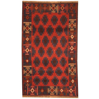 Herat Oriental Afghan Hand-knotted Tribal Balouchi Red/ Navy Wool Rugs (2'10 x 4'8)