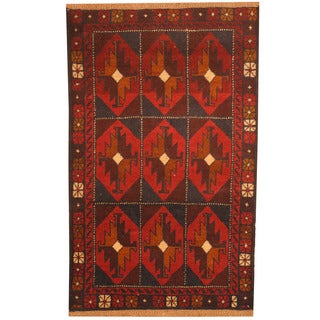 Herat Oriental Afghan Hand-knotted Tribal Balouchi Wool Rugs (2'9 x 4'5)