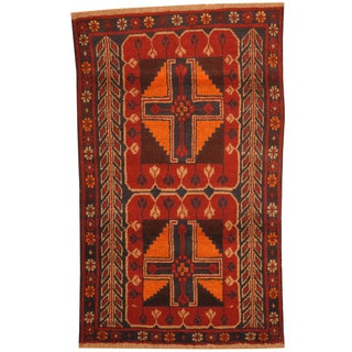 Herat Oriental Afghan Hand-knotted Tribal Balouchi Wool Rugs (2'9 x 4'6)