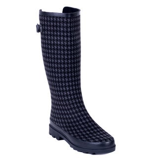 Women's Cloth Coating Back Cutout Houndstooth Rubber Rain Boots