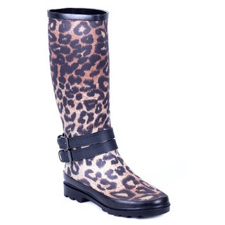 Forever Couture Women's Cloth Coating Leopard Print Rubber Rain Boots