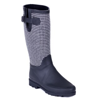 Forever Couture Women Black/ Grey Cloth Coating Houndstooth Rubber Rain Boots