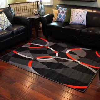 Trendz Grey and Orange Geometric Area Rug (5' x 7')