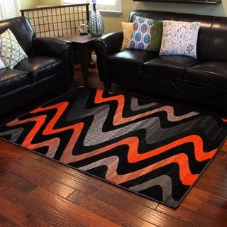 Trendz Three-tone Orange Wavy Area Rug (5' x 7')