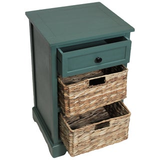 Malibu 3-drawer Storage Wood Side Table Nightstand