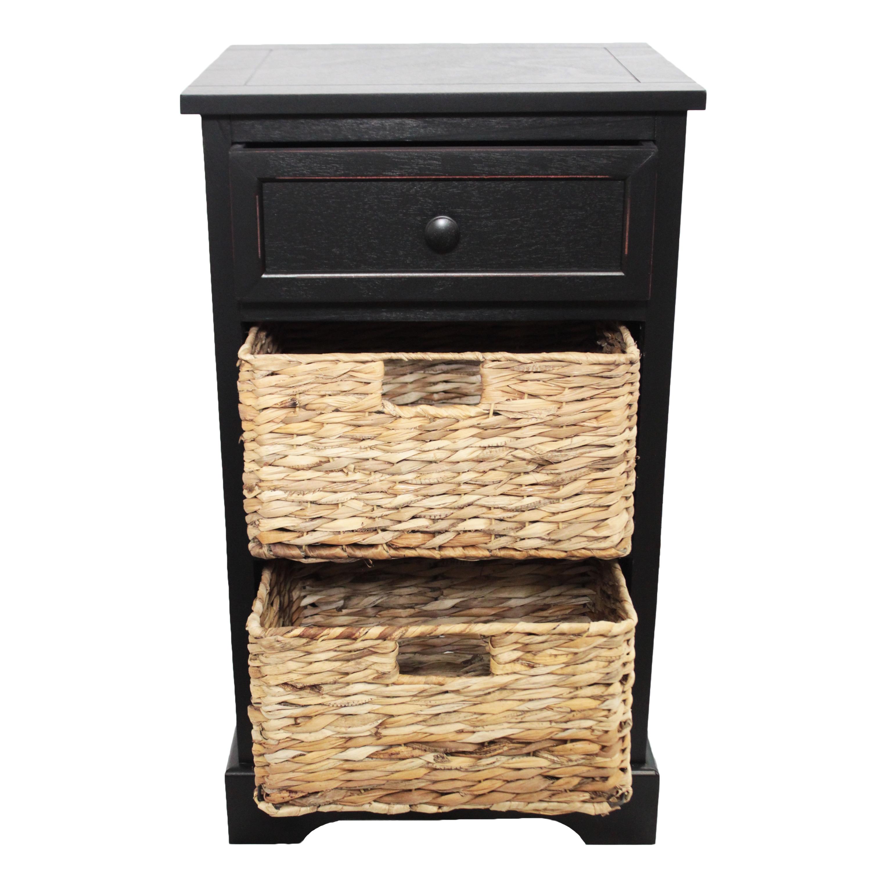 Espresso or Natural Wood Nightstand Bedside Table Drawer Storage Shelf Bedroom