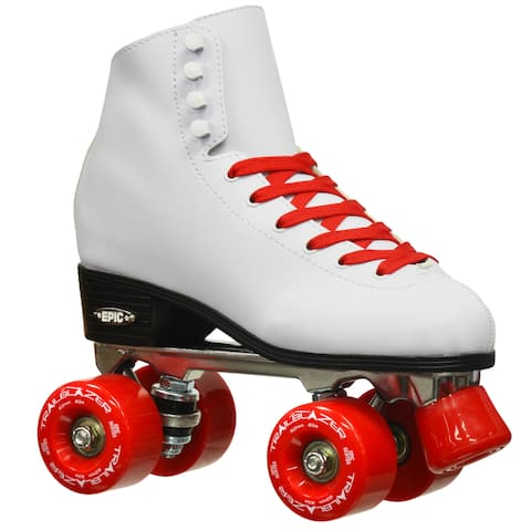 Epic Classic High-Top Quad Roller Skates White with Red Wheels