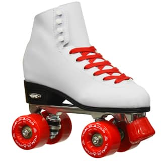 Epic Classic High-Top Quad Roller Skates White with Red Wheels|https://ak1.ostkcdn.com/images/products/10907528/P17939634.jpg?impolicy=medium
