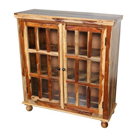 Handmade Porter Taos Solid Sheesham Wood 18-pane Glass Door Cabinet (India)