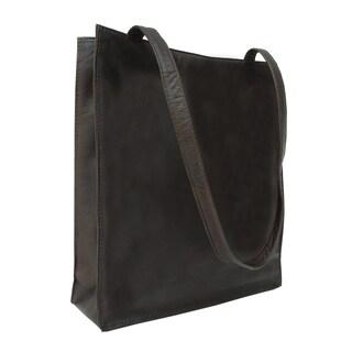 Piel Leather Open Market Bag (Option: Chocolate)