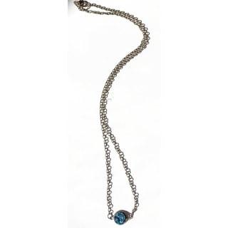 Pretty Little Style Bronze Blue Acrylic Druzy Sideways Pendant Necklace
