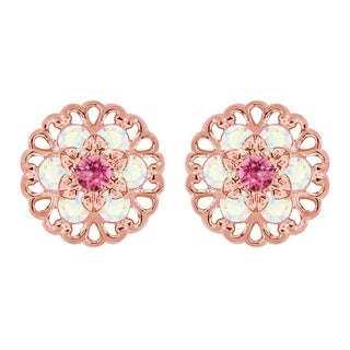 Lucia Costin Rose Goldplated Sterling Silver Pink/ White Crystal Earrings