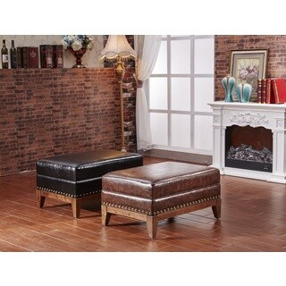 Castillian Premium Faux Leather Ottoman Bench with Nailhead Trim