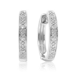 10K Gold .04ct TDW Hoop Diamond Earrings