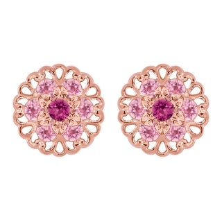 Lucia Costin Rose Goldplated Sterling Silver Light Pink/ Fuchsia Crystal Earrings