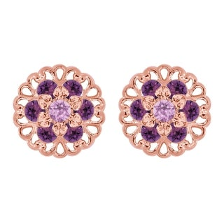 Lucia Costin Rose Goldplated Sterling Silver Lilac/ Violet Crystal Earrings