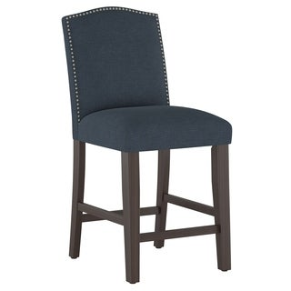 Skyline Furniture Nail Button Arched Counter Stool in Linen Navy
