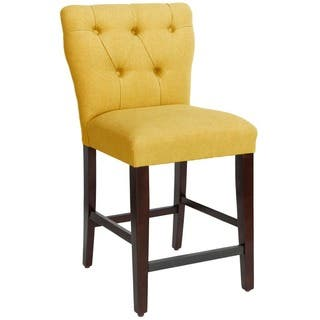 Skyline Furniture Tufted Hourgl Counter Stool In Linen French Yellow