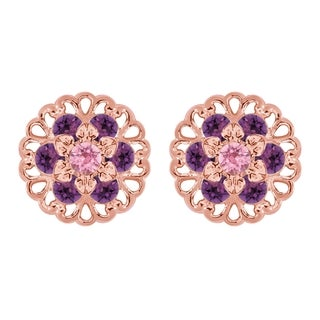 Lucia Costin Rose Goldplated Sterling Silver Violet/ Light Pink Crystal Earrings