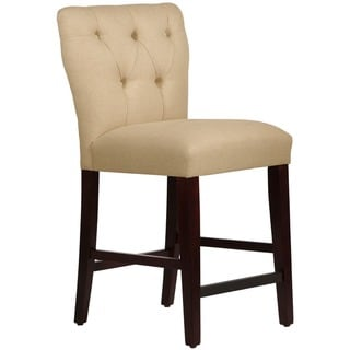 Skyline Furniture Tufted Hourglass Counter Stool in Linen Sandstone