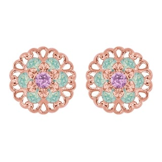 Lucia Costin Rose Goldplated Sterling Silver Lilac/ Mint Blue Crystal Earrings