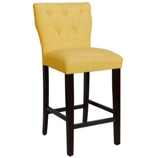 Skyline Furniture Tufted Hourglass Barstool in Linen French Yellow
