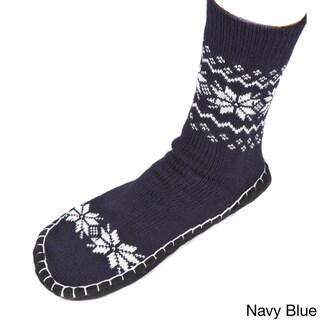 Leisureland Unisex Knitted Cozy Slippers Socks Snowflakes One SIze