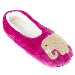 Leisureland Women's Fleece Lined Cozy Slippers Embroidery Elephent