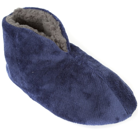 Leisureland Men's Fleece Lined Cozy Bootie Slippers Solid Color