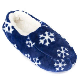 Leisureland Men's Fleece Lined Cozy Slippers Snowflakes