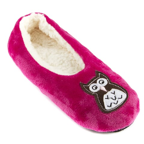 Leisureland Womens Fleece Lined Embroidery Cozy Slippers
