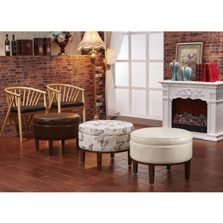Castillian Premium Collection Round Storage Ottoman with Ash wood Frame