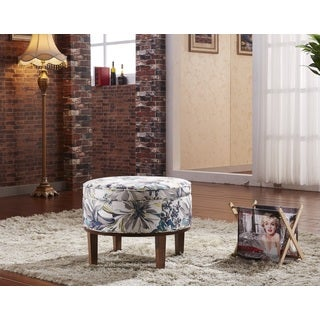 Castillian Premium Collection Floral Round Storage Ottoman with Ash wood frame