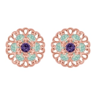 Lucia Costin Rose Goldplated Sterling Silver Mint Blue/ Violet Crystal Earrings